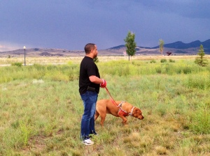 Tim and Roxie in Montana, just as a storm moves in