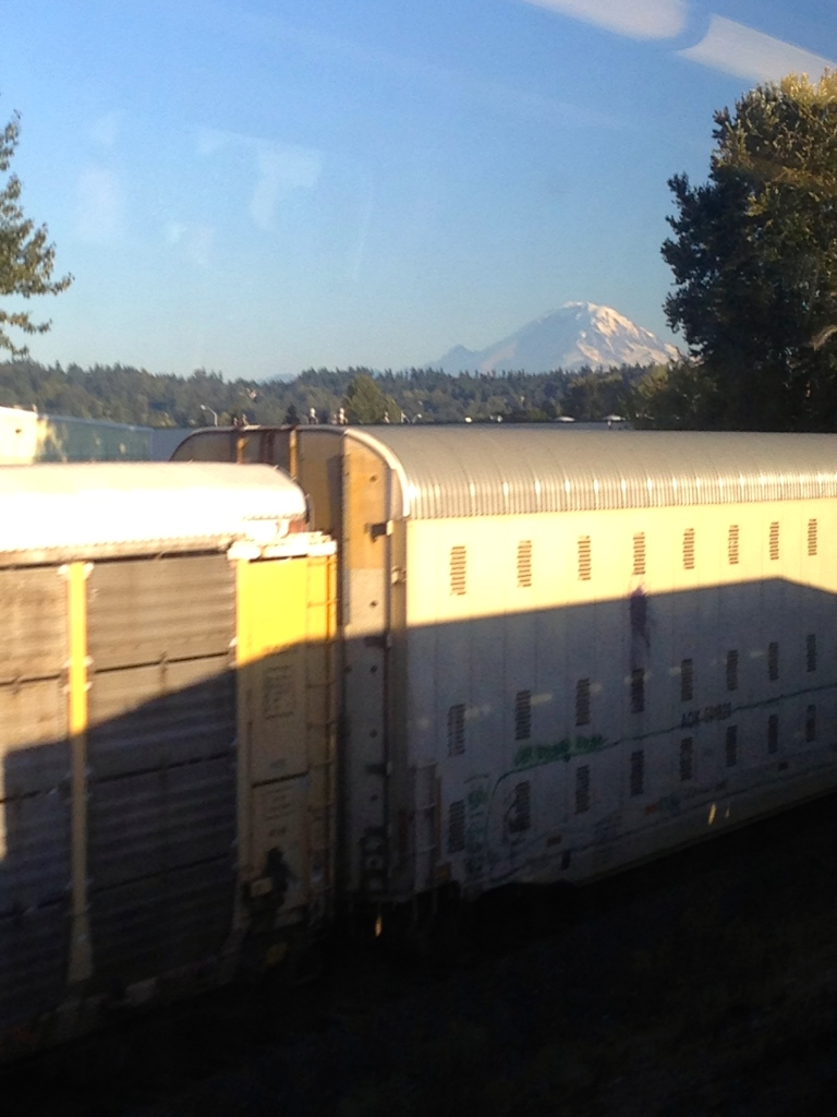 Rainier from the rails.