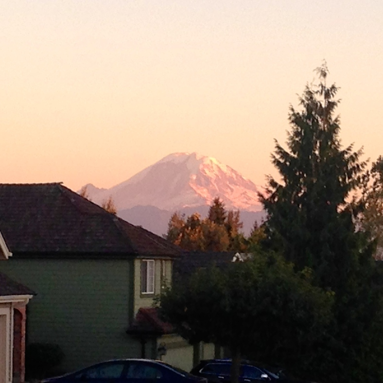Rainier as the sun sets.