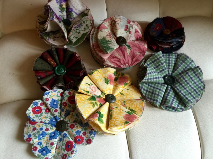 Fabric flowers, which I gave to the ladies at the end of the day because I sure never want to see them again. Nearly burnt my fingerprints off with hot glue making them!