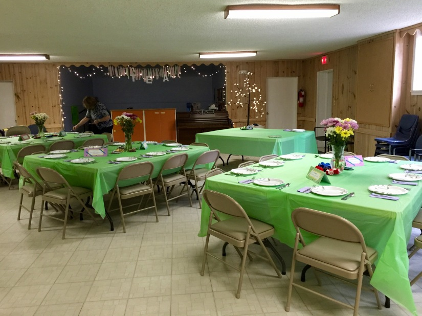 Fellowship Hall, decorated and ready for the crowd to arrive!