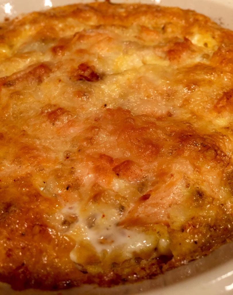 Steelhead omelet - hot, bubbly, and ready to eat!