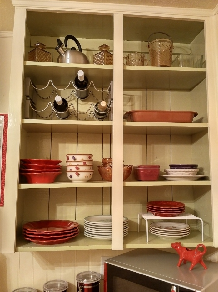 A close-up of my open shelves.