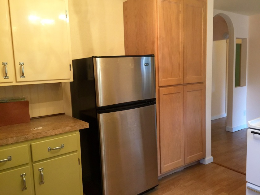 Fridge and food pantry. The shelves in the bottom half slide-out for easy access!