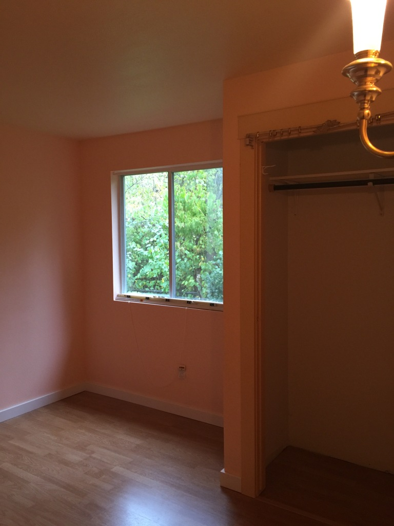 This is the back bedroom, which will be used as a shared office space.