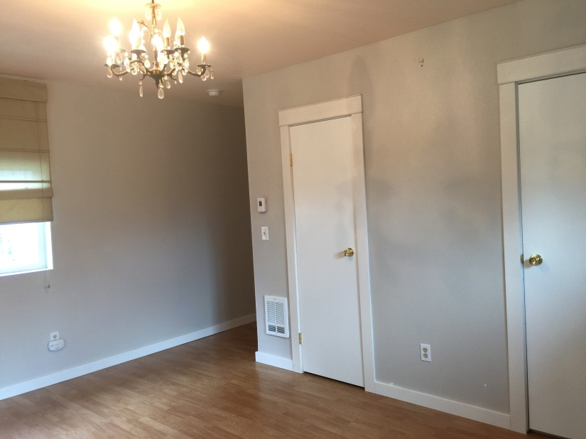 Master bedroom. Master closet door is visible and master bath door is barely visible at the edge of picture.